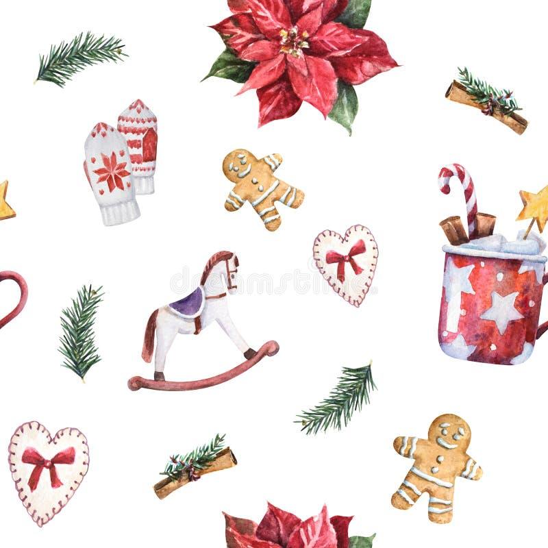 Άνευ ραφής σχέδιο Χριστουγέννων Watercolor με το παραδοσιακά ντεκόρ και τα στοιχεία ελεύθερη απεικόνιση δικαιώματος