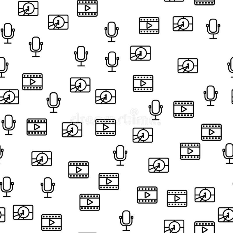 Άνευ ραφής σχέδιο χρονομέτρων μικροφώνων παραγωγής κινηματογράφων ελεύθερη απεικόνιση δικαιώματος