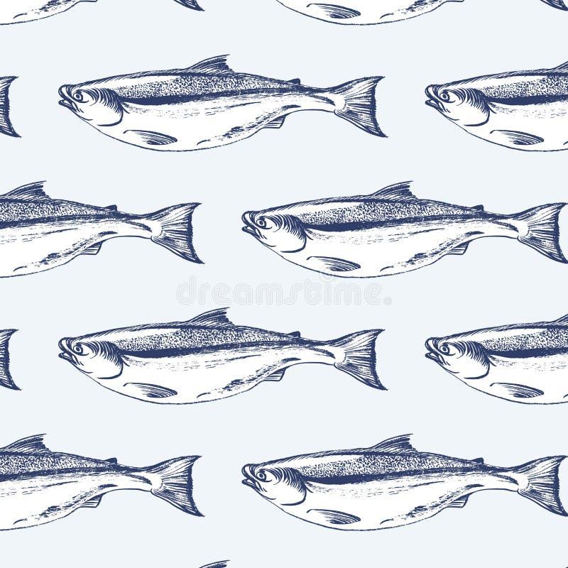 Άνευ ραφής σχέδιο ψαριών σολομών απεικόνιση αποθεμάτων