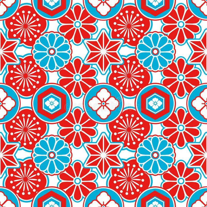 Άνευ ραφής σχέδιο ύφους της Ασίας με τα κόκκινα και μπλε ιαπωνικά διακοσμητικά λουλούδια και τα γεωμετρικά στοιχεία στο άσπρο υπό διανυσματική απεικόνιση