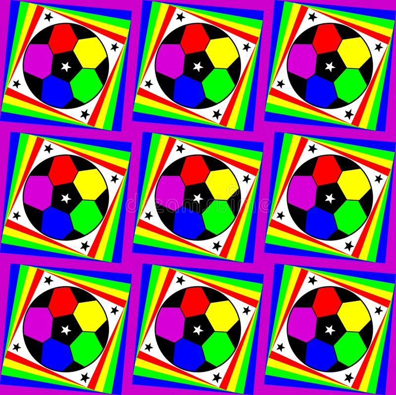 Άνευ ραφής σχέδιο Astroniras με τις σφαίρες και τα αστέρια ποδοσφαίρου φωτεινά χρώματα απεικόνιση αποθεμάτων
