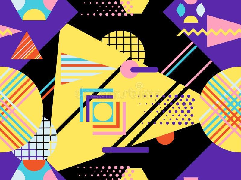 Άνευ ραφής σχέδιο Bauhaus Γεωμετρικά στοιχεία Μέμφιδα στο ύφος της δεκαετίας του '80 abstract background modern διάνυσμα ελεύθερη απεικόνιση δικαιώματος