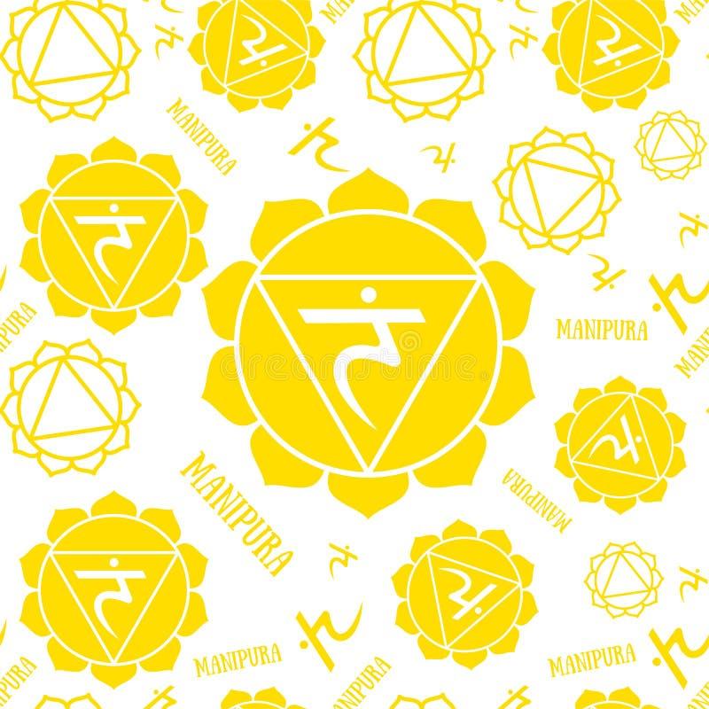 Άνευ ραφής σχέδιο chakras Manipura Διανυσματικό εσωτερικό υπόβαθρο Hinduism, βουδισμός Σύμβολο γραμμών Κίτρινο χρώμα διανυσματική απεικόνιση
