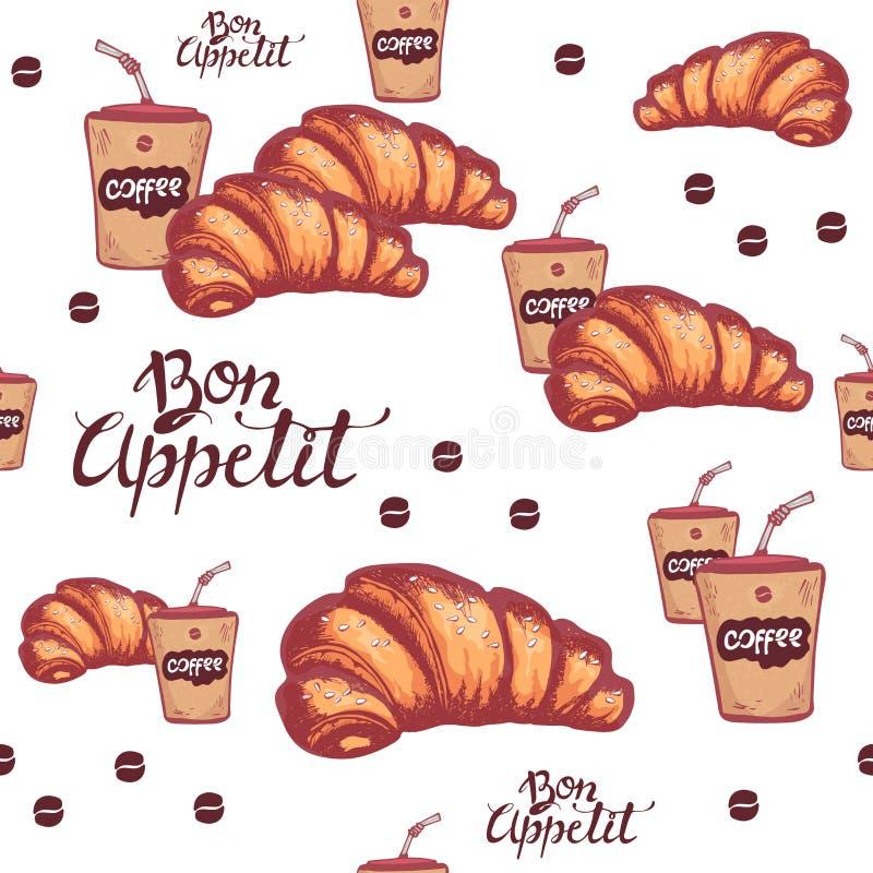 Άνευ ραφής σχέδιο croissant με το σουσάμι Φλιτζάνι του καφέ Bon Appetit διανυσματικό λευκό καρ&chi Διανυσματικό υπόβαθρο φ διανυσματική απεικόνιση