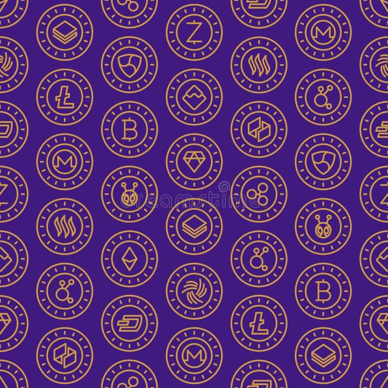 Άνευ ραφής σχέδιο Cryptocurrency με τα λεπτά εικονίδια γραμμών: Bitcoin, Ε ελεύθερη απεικόνιση δικαιώματος