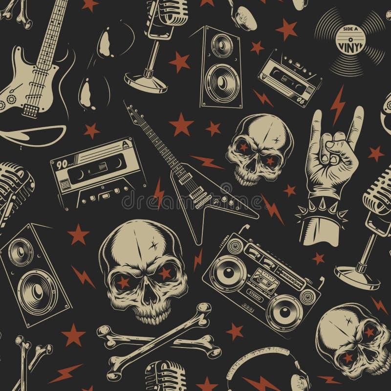 Άνευ ραφής σχέδιο Grunge με τα κρανία διανυσματική απεικόνιση