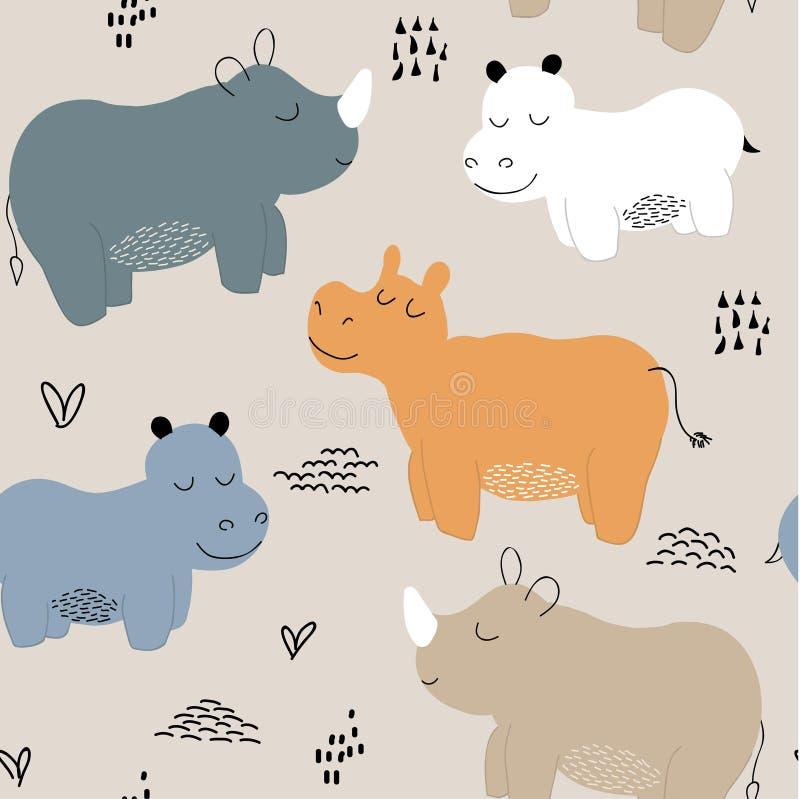 Άνευ ραφής σχέδιο Hippopotamus παιδαριώδης διανυσματική απεικόνιση για το ύφασμα, κλωστοϋφαντουργικό προϊόν, ενδύματα, ταπετσαρία απεικόνιση αποθεμάτων