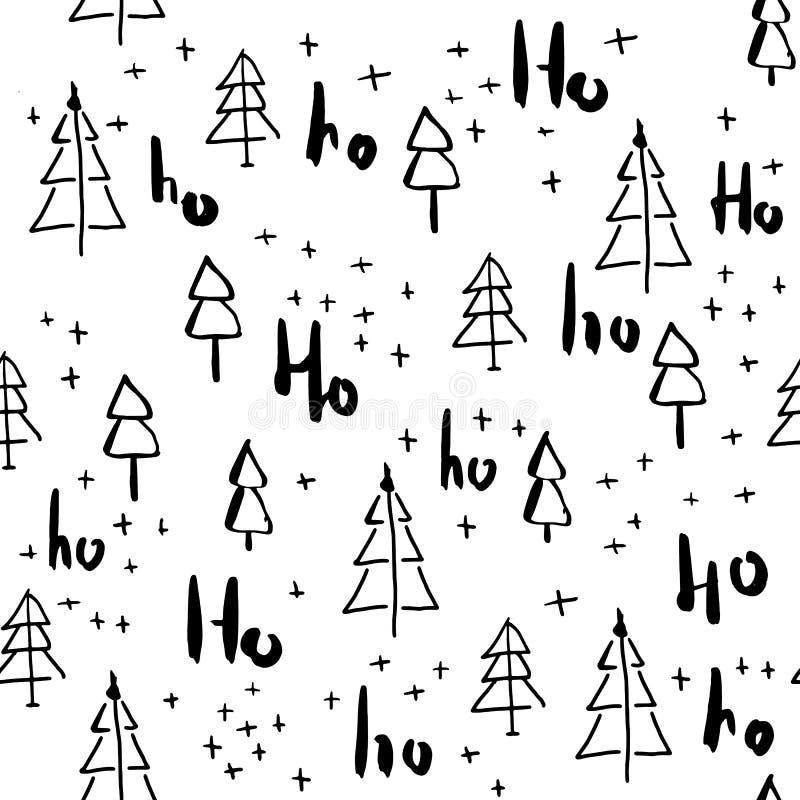 Άνευ ραφής σχέδιο Hohoho και χριστουγεννιάτικων δέντρων handdrawn ελεύθερη απεικόνιση δικαιώματος