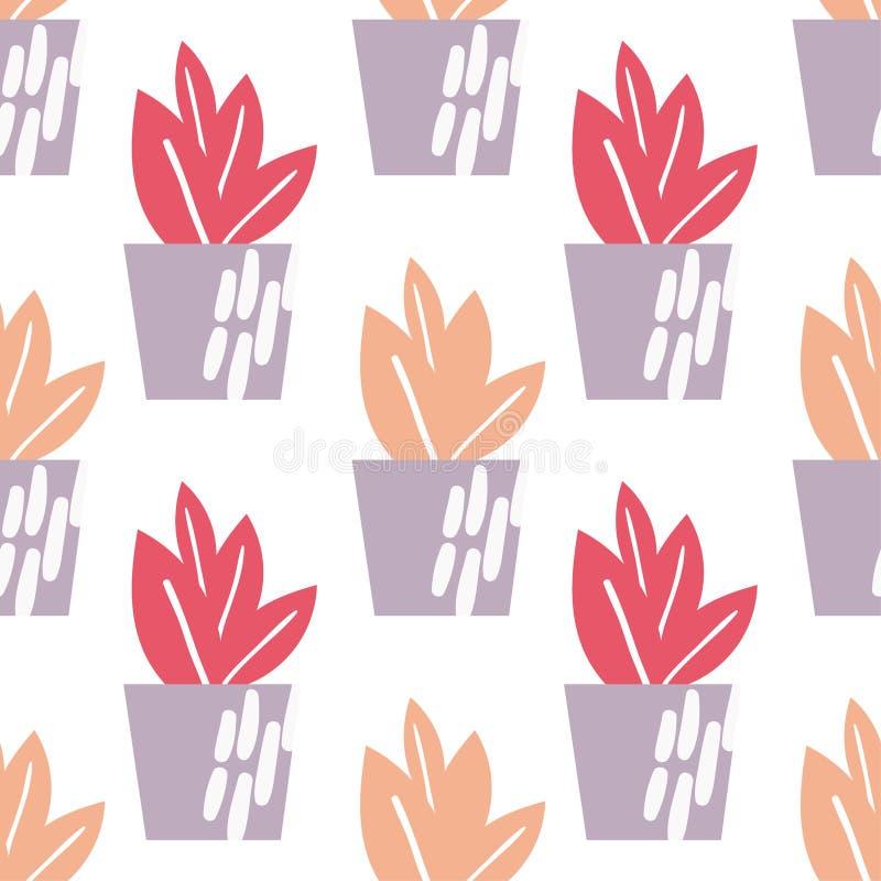 Άνευ ραφής σχέδιο Houseplants διανυσματική απεικόνιση