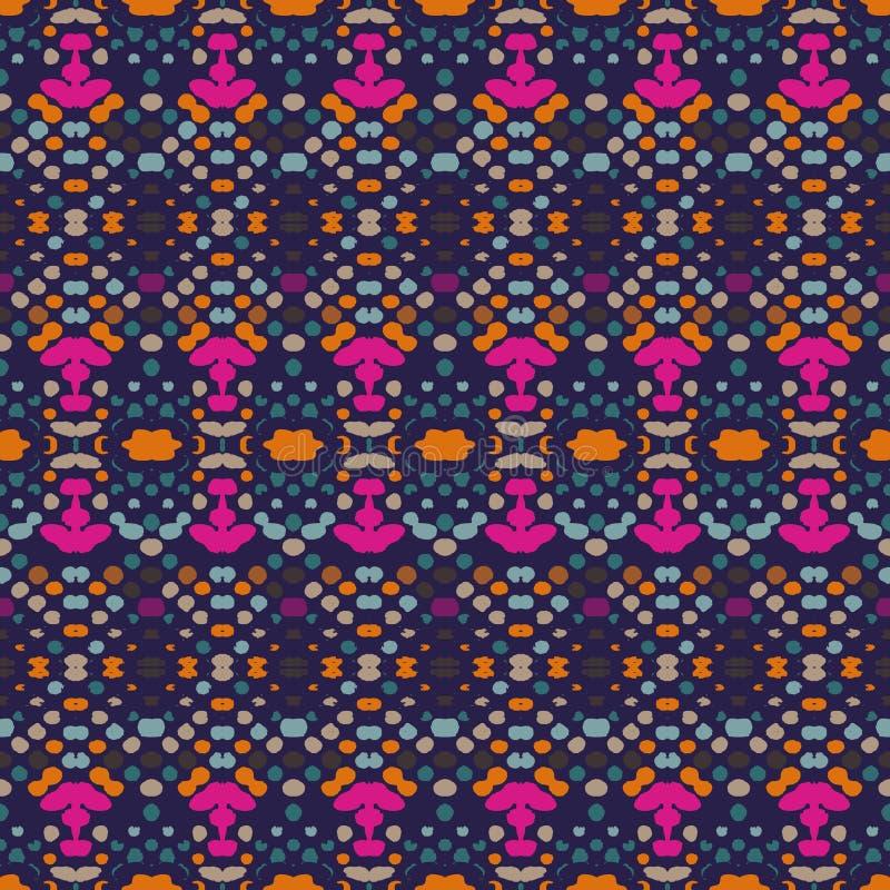Άνευ ραφής σχέδιο Ikat Διανυσματική τυπωμένη ύλη shibori χρωστικών ουσιών δεσμών με τα λωρίδες και το σιρίτι Κατασκευασμένο υπόβα ελεύθερη απεικόνιση δικαιώματος