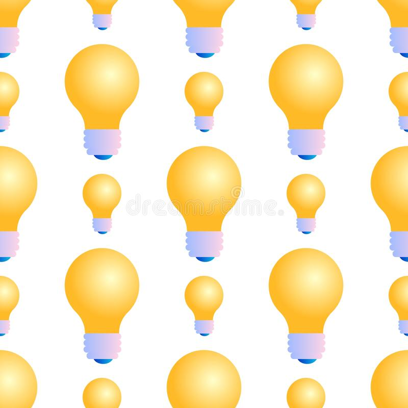 Άνευ ραφής σχέδιο Lightbulbs στο άσπρο υπόβαθρο απεικόνιση αποθεμάτων