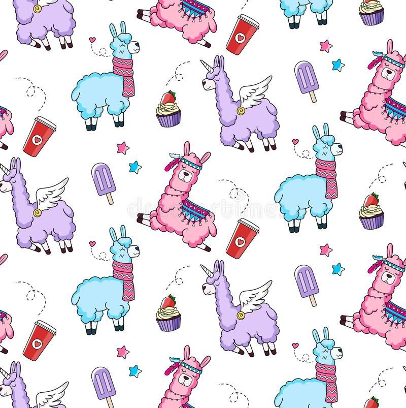 Άνευ ραφής σχέδιο Lllama με χαριτωμένα llamas και doodles Προβατοκάμηλος des ελεύθερη απεικόνιση δικαιώματος