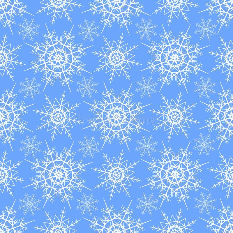 Άνευ ραφής σχέδιο snowflakes χειμερινού υποβάθρου διανυσματικού σχεδίου χρωμάτων χιονιού του μπλε και άσπρου διανυσματική απεικόνιση