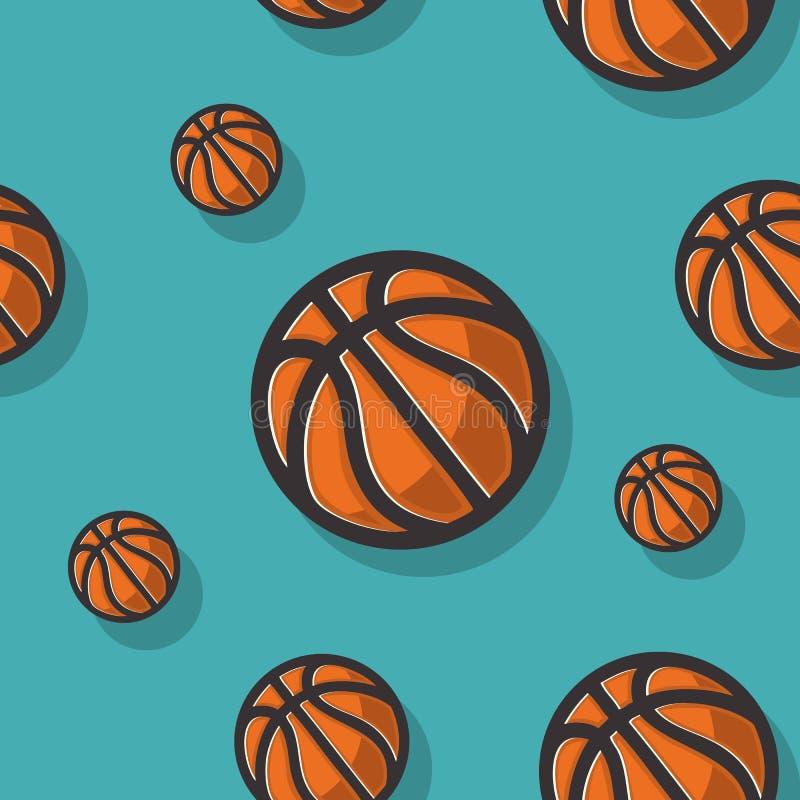 Άνευ ραφής σχέδιο Themed καλαθοσφαίρισης με το διάνυσμα σφαιρών καλαθοσφαίρισης γραφικό ελεύθερη απεικόνιση δικαιώματος