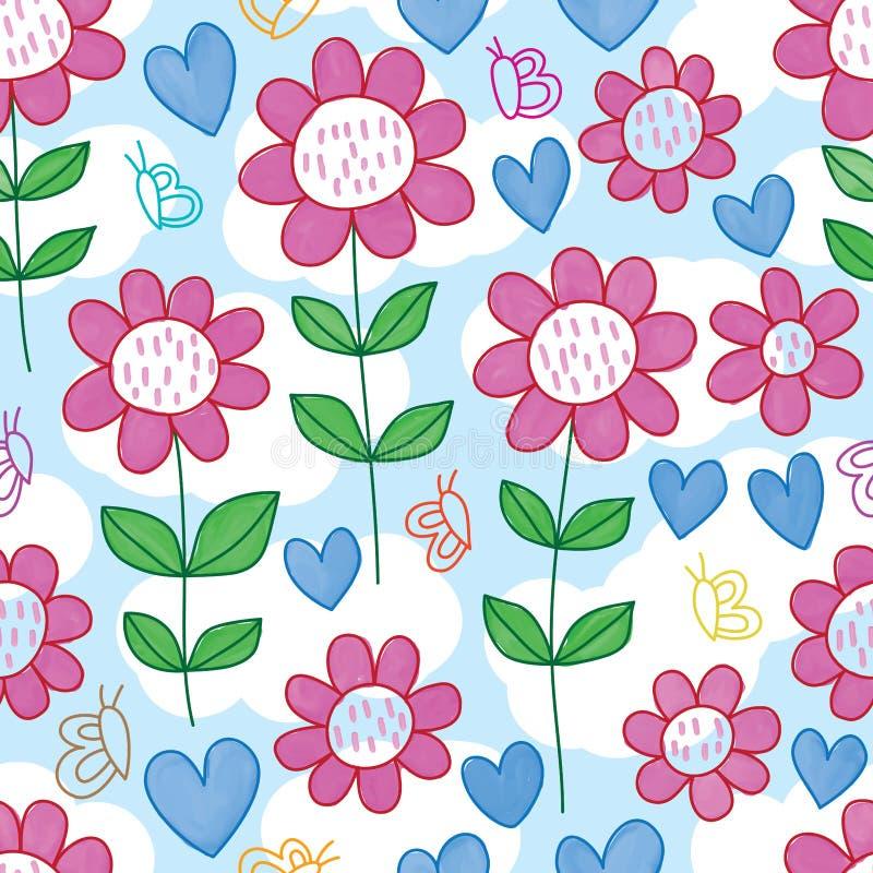 Άνευ ραφής σχέδιο watercolor αγάπης λουλουδιών γραμμών πεταλούδων ελεύθερη απεικόνιση δικαιώματος