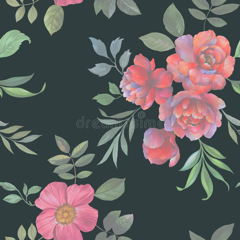 Άνευ ραφής σχέδιο watercolor Απεικόνιση των λουλουδιών και των φύλλων απεικόνιση αποθεμάτων