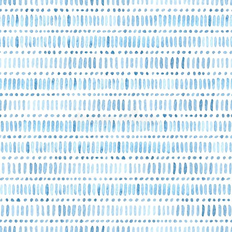 Άνευ ραφής σχέδιο watercolor Απλές γεωμετρικές γραμμές Μπλε και wh διανυσματική απεικόνιση