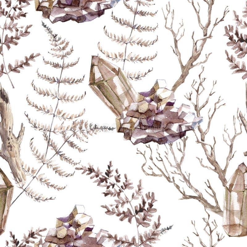 Άνευ ραφής σχέδιο Watercolor με τα διαφανή λαμπρά κρύσταλλα και δασική φτέρη απεικόνιση αποθεμάτων