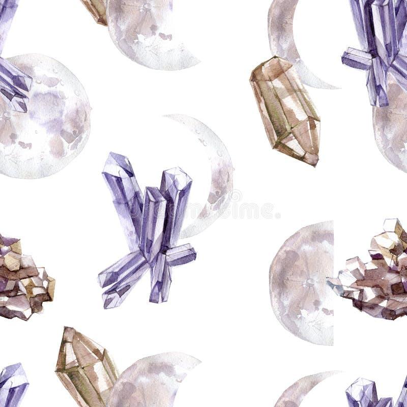 Άνευ ραφής σχέδιο Watercolor με τα διαφανή λαμπρά κρύσταλλα και τις φάσεις φεγγαριών απεικόνιση αποθεμάτων