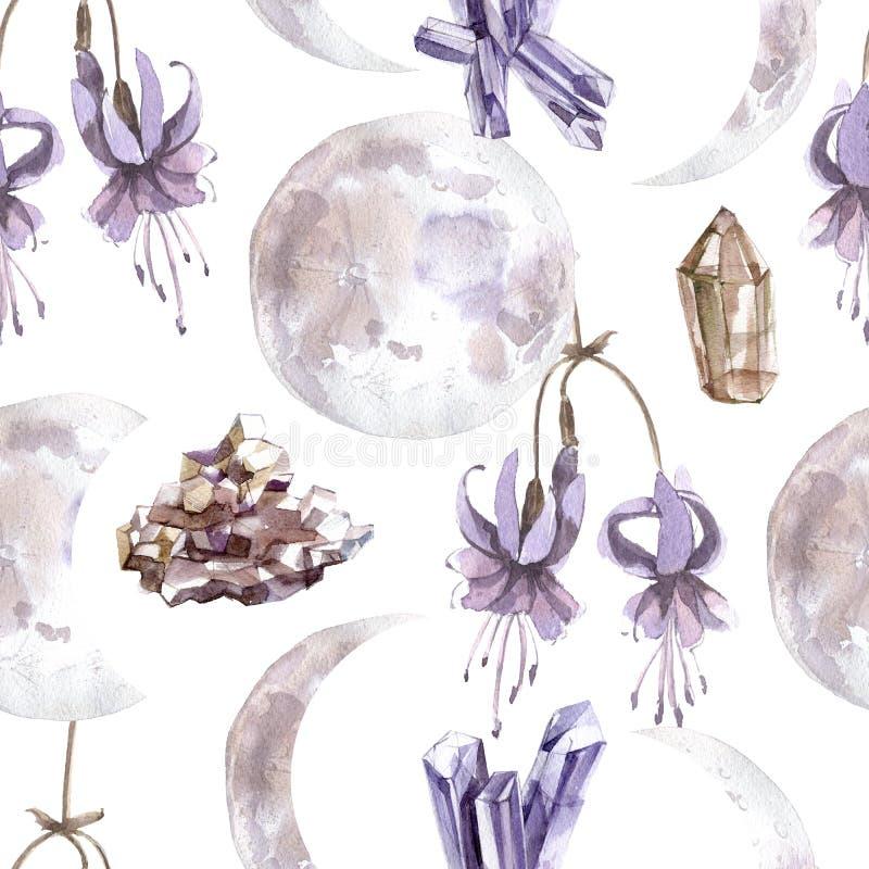 Άνευ ραφής σχέδιο Watercolor με τα διαφανή λαμπρά κρύσταλλα και τις φάσεις φεγγαριών στοκ εικόνες