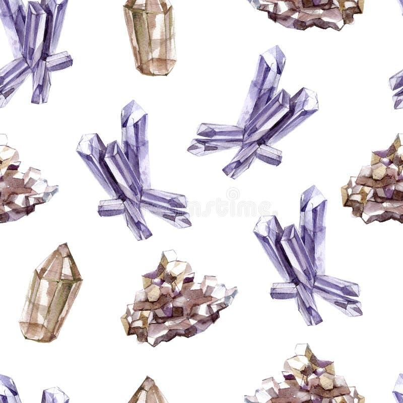 Άνευ ραφής σχέδιο Watercolor με τα διαφανή λαμπρά κρύσταλλα Πολύτιμα μεταλλεύματα, γεωλογία απεικόνιση αποθεμάτων