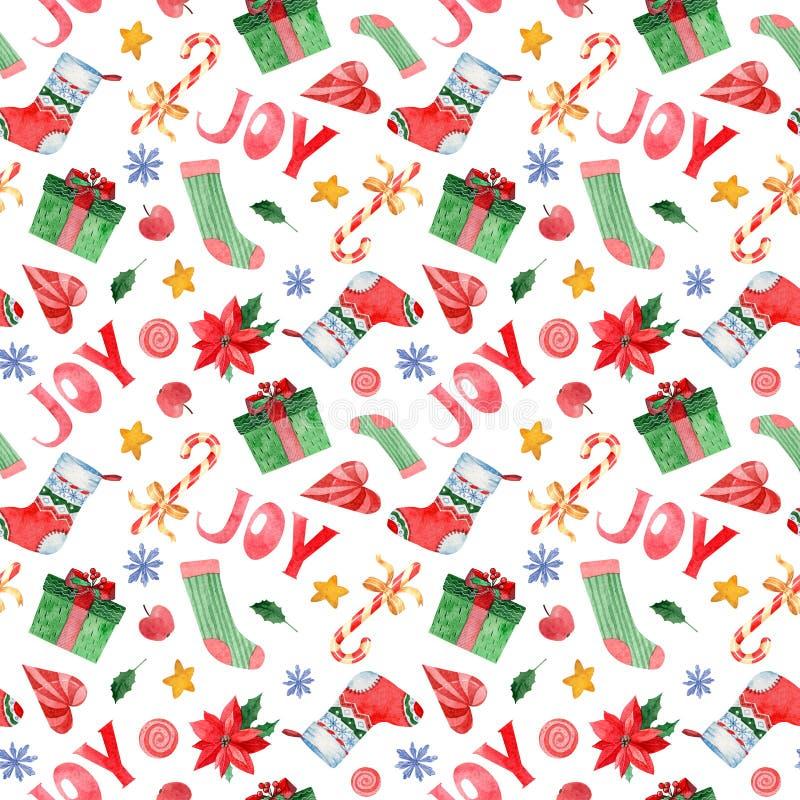 Άνευ ραφής σχέδιο Watercolor με τα εικονίδια καλής χρονιάς και της ημέρας των Χριστουγέννων απεικόνιση αποθεμάτων