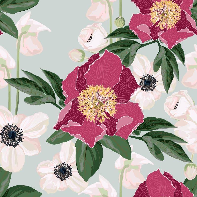 Άνευ ραφής σχέδιο Watercolor με τα λουλούδια, anemones και τα φύλλα peonies απεικόνιση αποθεμάτων