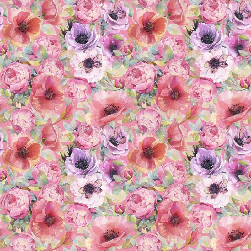 Άνευ ραφής σχέδιο Watercolor με τα λουλούδια, anemones, τις παπαρούνες, τα τριαντάφυλλα και τις πεταλούδες Ρομαντική βοτανική ταπ διανυσματική απεικόνιση