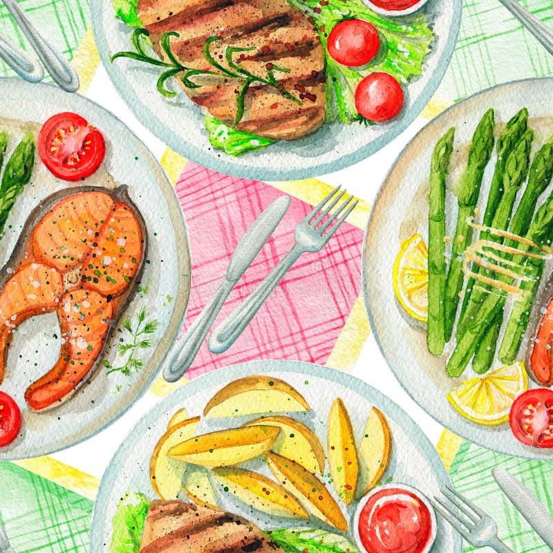 Άνευ ραφής σχέδιο Watercolor με τα πιάτα, τις πετσέτες και το επιτραπέζιο σκεύος ελεύθερη απεικόνιση δικαιώματος