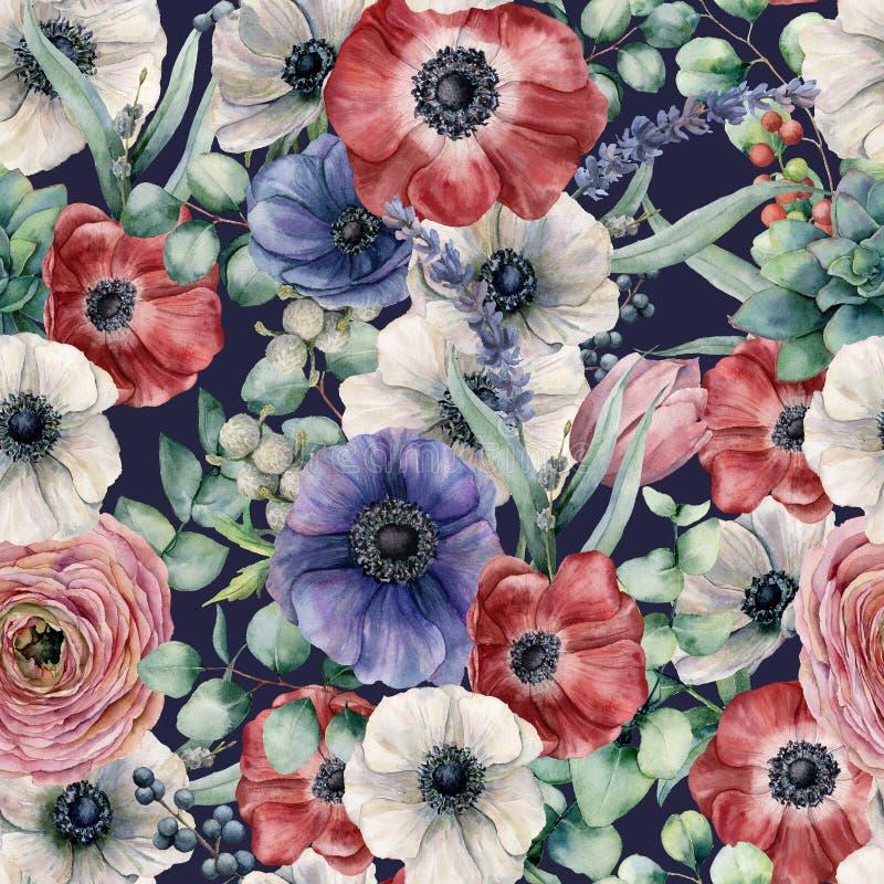 Άνευ ραφής σχέδιο Watercolor με τα φύλλα ευκαλύπτων και τα διαφορετικά λουλούδια Χέρι που χρωματίζεται anemones, βατράχιο, μούρα διανυσματική απεικόνιση