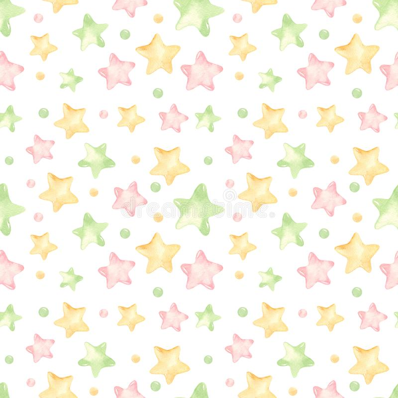 Άνευ ραφής σχέδιο Watercolor με τα χαριτωμένα χρωματισμένα αστέρια διανυσματική απεικόνιση