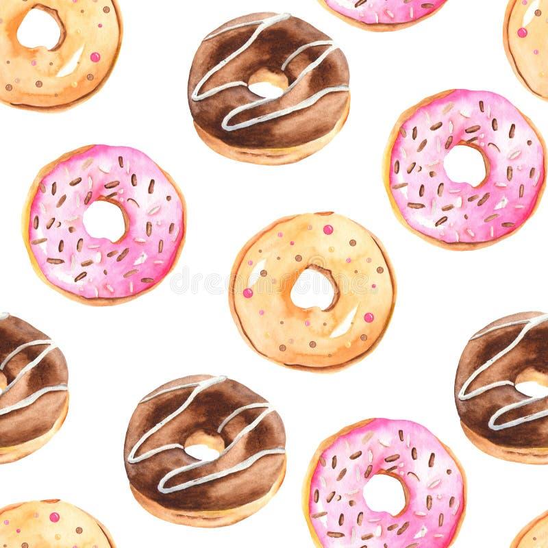 Άνευ ραφής σχέδιο Watercolor με τα donuts ελεύθερη απεικόνιση δικαιώματος