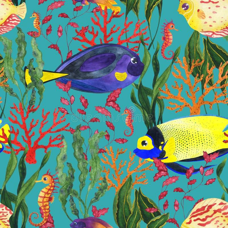 Άνευ ραφής σχέδιο Watercolor με την κοραλλιογενή ύφαλο στο μπλε υπόβαθρο ελεύθερη απεικόνιση δικαιώματος