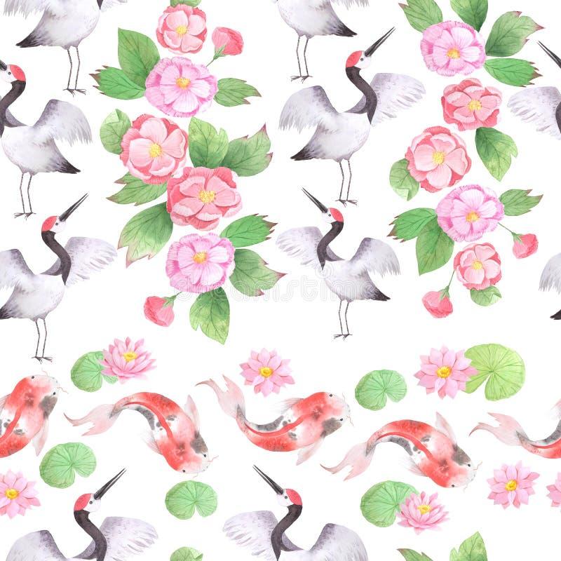 Άνευ ραφής σχέδιο Watercolor με τους ασιατικούς γερανούς ελεύθερη απεικόνιση δικαιώματος