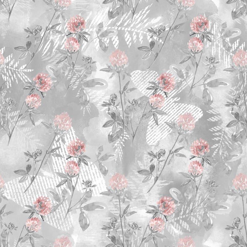 Άνευ ραφής σχέδιο watercolor με τους κλάδους και τα λουλούδια του τριφυλλιού σε ένα ανοικτό γκρι υπόβαθρο απεικόνιση αποθεμάτων