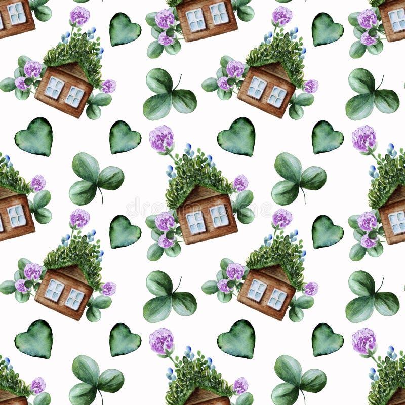 Άνευ ραφής σχέδιο Watercolor με το πράσινο τριφύλλι και το ξύλινο σπίτι στοκ φωτογραφίες με δικαίωμα ελεύθερης χρήσης