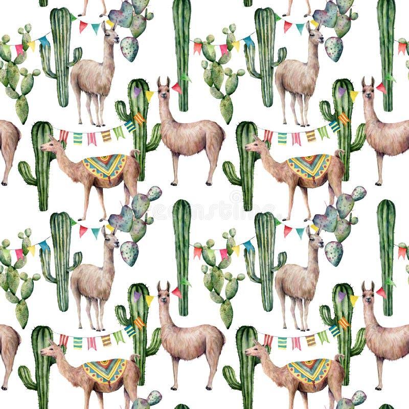 Άνευ ραφής σχέδιο Watercolor με llama, τη γιρλάντα σημαιών και τους κάκτους Το χέρι χρωμάτισε την όμορφη απεικόνιση με τα ζώα και στοκ εικόνα με δικαίωμα ελεύθερης χρήσης