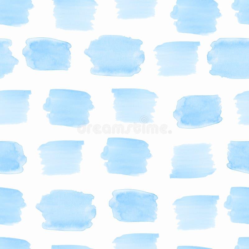 Άνευ ραφής σχέδιο watercolor στο μπλε χρώμα ουρανού σε ένα άσπρο υπόβαθρο απεικόνιση αποθεμάτων