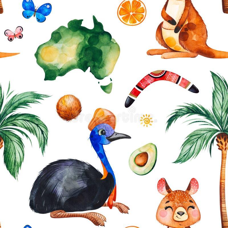 Άνευ ραφής σχέδιο watercolor ταξιδιού με τα αυστραλιανά ζώα, φρούτα, πεταλούδες διανυσματική απεικόνιση