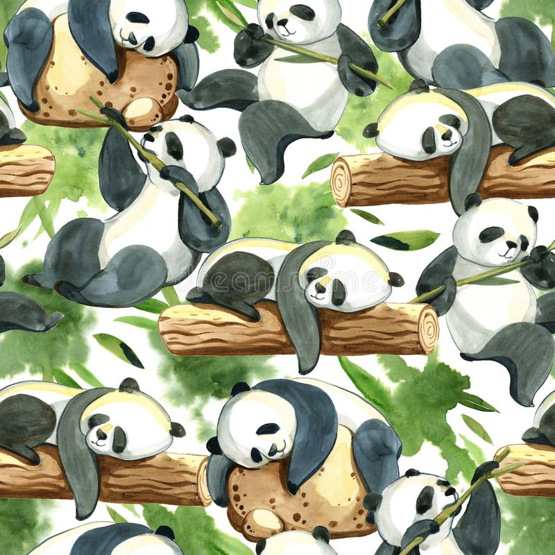 Άνευ ραφής σχέδιο Watercolor του διαφορετικών panda και των φύλλων ελεύθερη απεικόνιση δικαιώματος