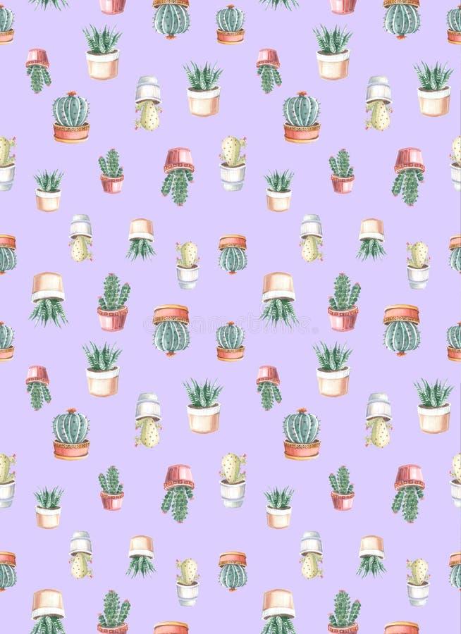 άνευ ραφής σχέδιο watercolor των κάκτων και succulents watercolor διανυσματική απεικόνιση