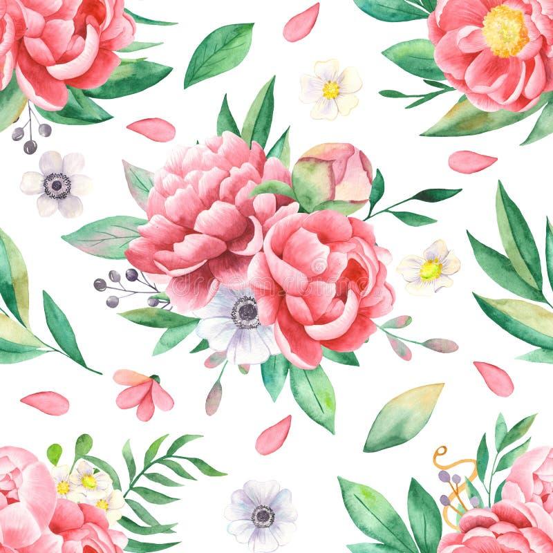 Άνευ ραφής σχέδιο Watercolor των λουλουδιών των peonies, φύλλα, πέταλα, anemones απεικόνιση αποθεμάτων