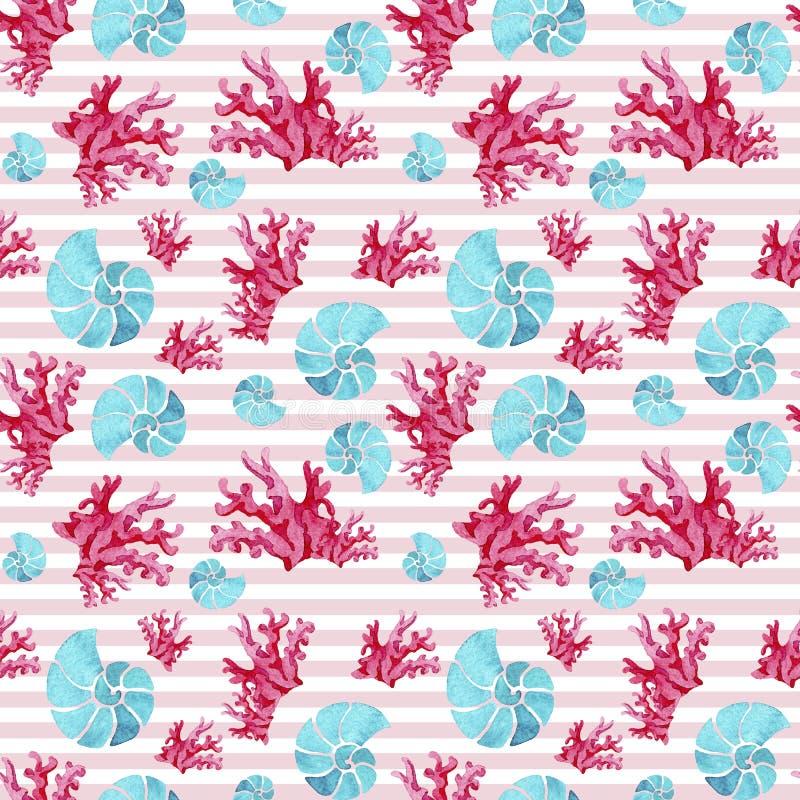Άνευ ραφής σχέδιο Watercolor των υποθαλάσσια κόκκινα κοραλλιών και ammonites aquamarine στο ρόδινο άσπρο ριγωτό υπόβαθρο διανυσματική απεικόνιση