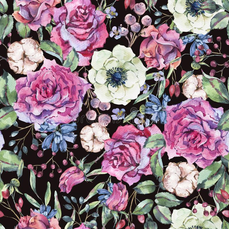 Άνευ ραφής σχέδιο watercolor φύσης με ροδαλό, anemone, βαμβάκι ελεύθερη απεικόνιση δικαιώματος