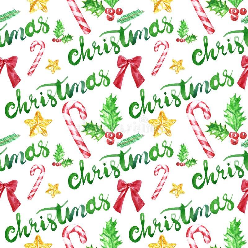 Άνευ ραφής σχέδιο watercolor χειμερινών Χριστουγέννων με τους καλάμους καραμελών, κόκκινη κορδέλλα, ελαιόπρινος στο άσπρο υπόβαθρ απεικόνιση αποθεμάτων