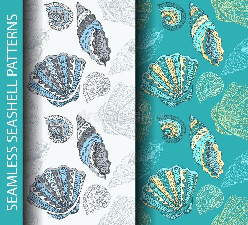 Άνευ ραφής σχέδια θαλασσινών κοχυλιών Βασισμένο σε διαθεσιμότητα συρμένο σκίτσο ελεύθερη απεικόνιση δικαιώματος