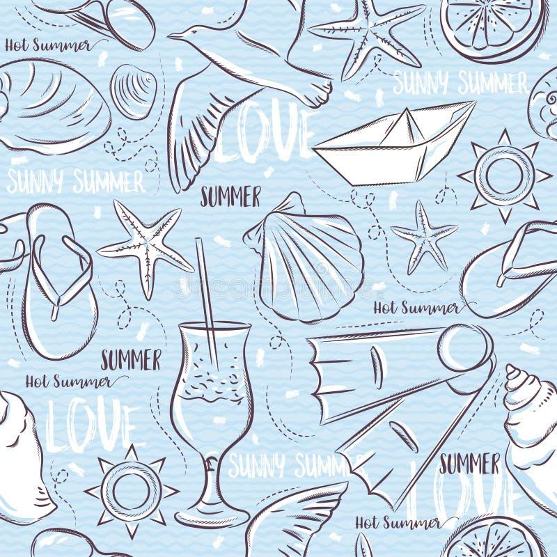 Άνευ ραφής σχέδια με τα θερινά σύμβολα, βάρκα, σαγιονάρες, θάλασσα ST ελεύθερη απεικόνιση δικαιώματος