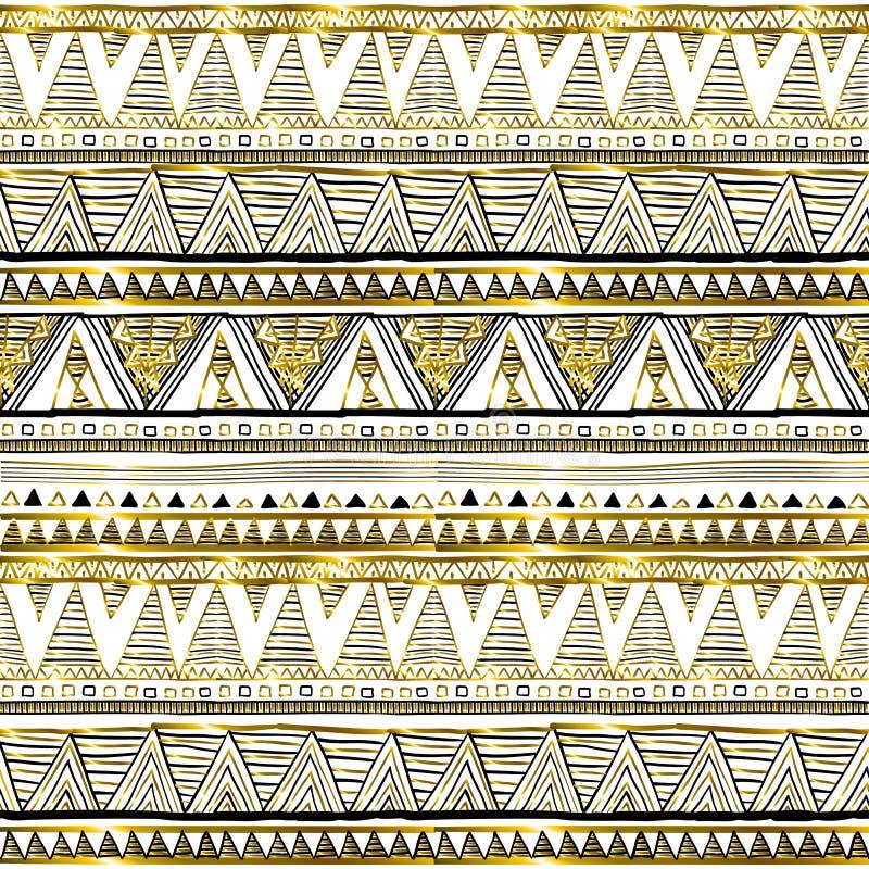 Άνευ ραφής σχέδια με το λευκό, το Μαύρο, το χρυσό, τις γραμμές τρεκλίσματος και τα σημεία απεικόνιση αποθεμάτων