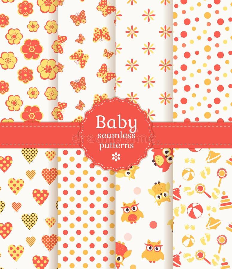 Άνευ ραφής σχέδια μωρών στα χρώματα κρητιδογραφιών. Διανυσματικό SE απεικόνιση αποθεμάτων