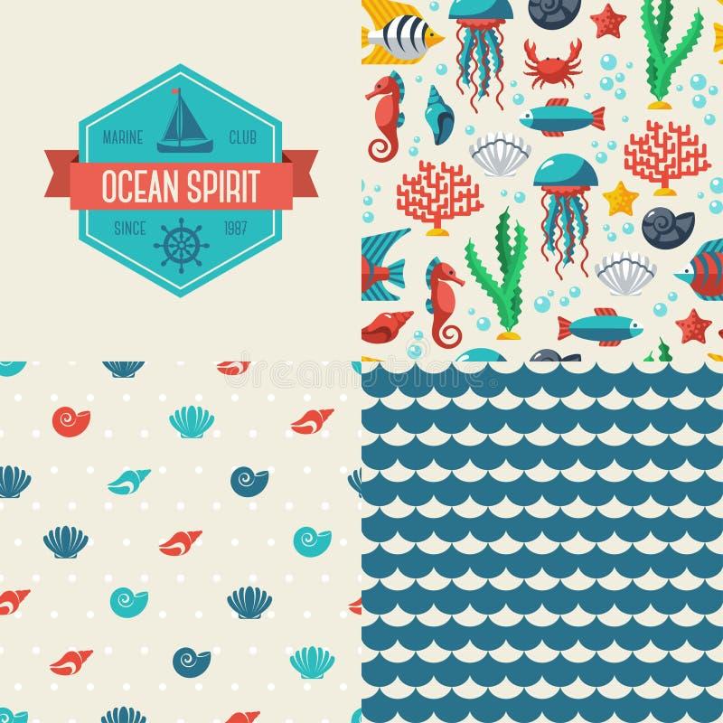 Άνευ ραφής σχέδια των θαλασσίων συμβόλων και της ετικέτας ελεύθερη απεικόνιση δικαιώματος